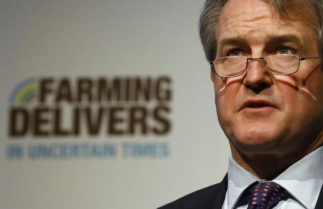 Thư ký Môi trường Vương Quốc Anh - ông Owen Paterson phát biểu tại một cuộc họp của Liên minh Nông dân Quốc gia (National Farmers Union - NFU) tại thành phố Birmingham ngày 27/2/2013