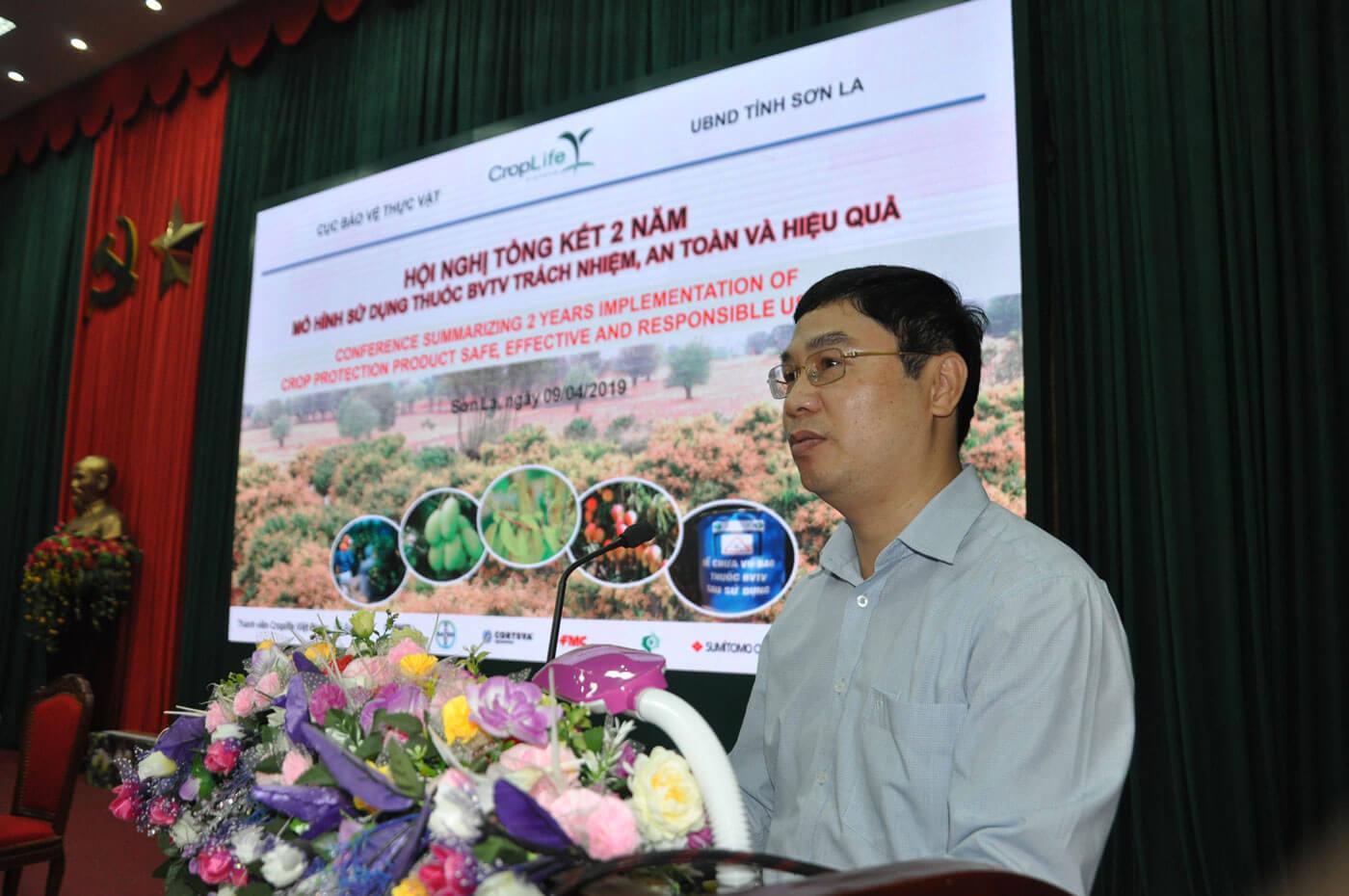 Ông Nguyễn Quý Dương - Phó Cục trưởng Cục BVTV (Bộ NNPTNT) phát biểu tại hội nghị ngày 9.4 ở Sơn La.